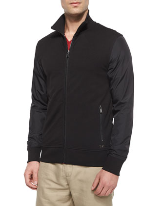 Nylon-Sleeve Zip Jacket, Black