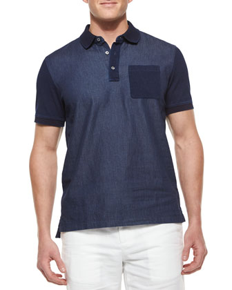 Chambray Dyed Polo Shirt, Blue