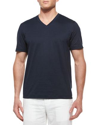 Leather-Trim Moto Jacket, Short-Sleeve V-Neck Tee & Cotton/Linen Chino Shorts