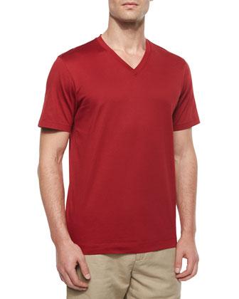 Short-Sleeve V-Neck Jersey Tee, Red