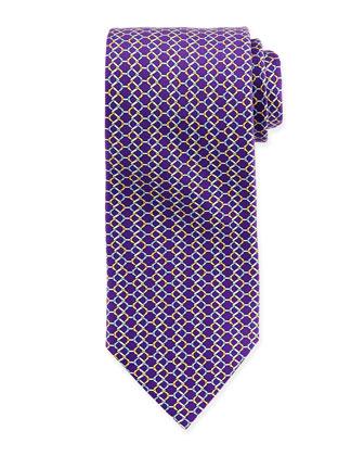 Chain Link-Print Silk Tie, Purple