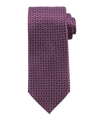 Diamond Octagon-Print Silk Tie, Magenta