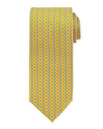 Chain Link-Print Silk Tie, Yellow