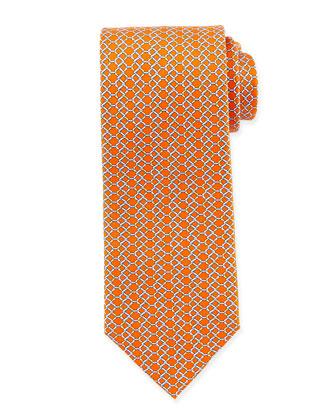 Chain Link-Print Silk Tie, Orange