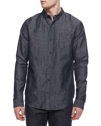 Melrose Denim Button-Down Shirt, Blue