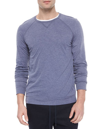 Crewneck Heather Knit Sweater, Blue