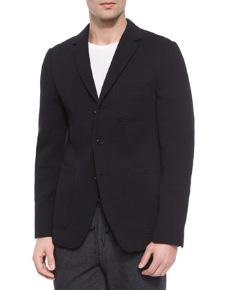 Three-Button Knit Blazer, Black