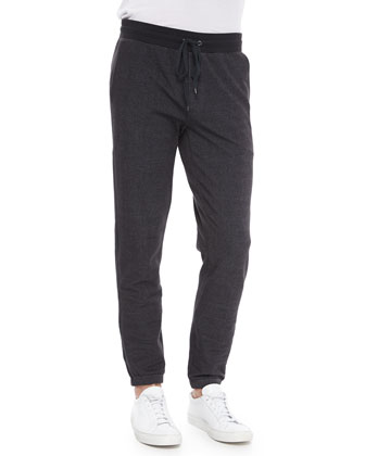 Cotton-Blend Track Pants, Charcoal