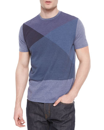 Multi-Block Graphic Crewneck Tee, Blue