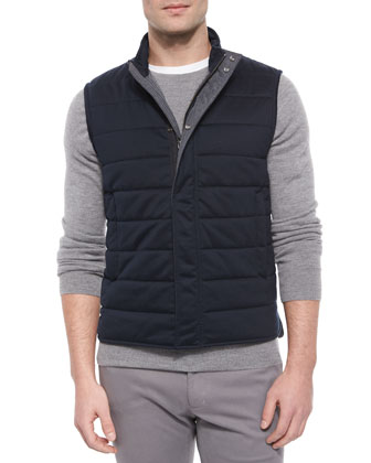 Quilted Knit Puffer Vest, Navy