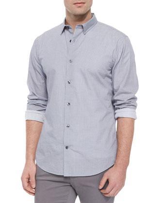Melrose Micro-Check Sport Shirt, Light Gray/Black