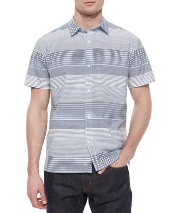 Multi-Stripe Short-Sleeve Shirt, Blue