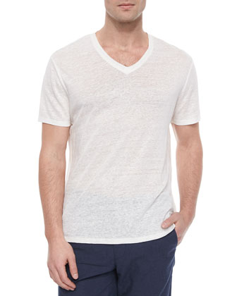 Short-Sleeve V-Neck Henley Tee, White