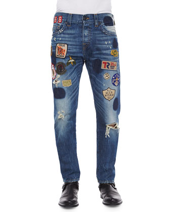 Dean Well-Traveled Patchwork Denim Jeans, Blue