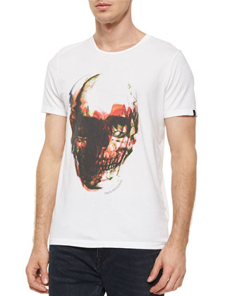 Distorted-Skull Graphic Tee, White