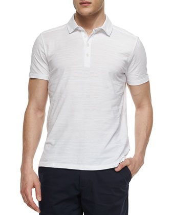 Short-Sleeve Slub-Knit Polo Shirt, White
