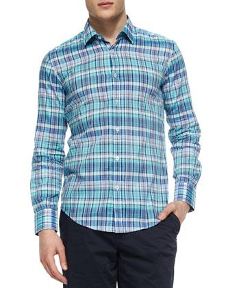 Plaid Long-Sleeve Poplin Shirt, Aqua