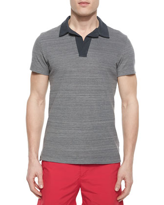 Felix Johnny-Collar Polo Shirt, Dark Gray