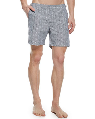 Bulldog Geometric-Print Swim Trunks, Black