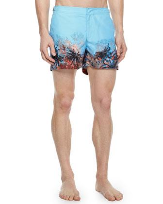 Setter Underwater-Print Swim Trunks, Blue/Multi