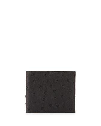 Ostrich Bi-Fold Wallet, Black