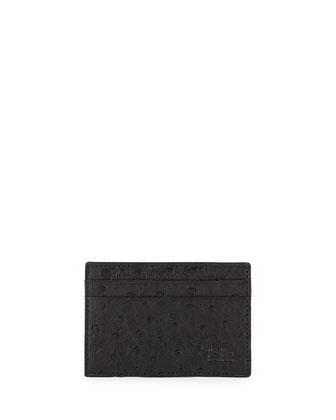 Ostrich Card Case, Black