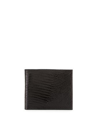 Lizard Bi-Fold Wallet, Black