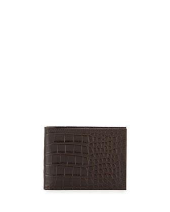 Alligator Bi-Fold Wallet, Brown