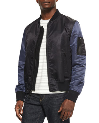 OS-1 Nylon Bomber Jacket with Leather Trim, Blue