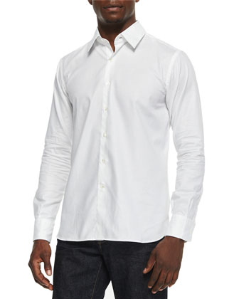 Midwood Neon-Flecked Sport Shirt, White Pattern