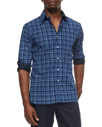 Midwood Plaid Sport Shirt, Blue/Navy