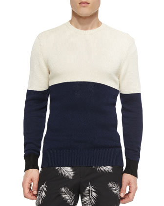 Colorblock Crewneck Sweater, White/Navy