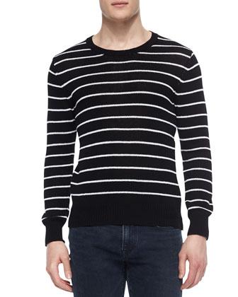 Striped Crewneck Sweater with Zipper Detail, White/Black