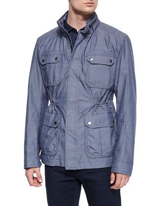 Chambray Woven Field Jacket, Blue
