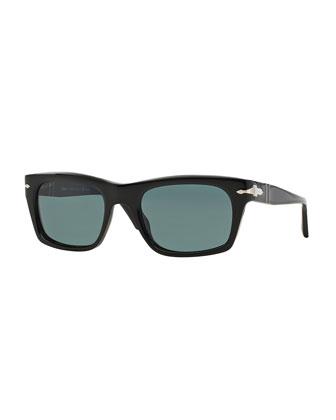 Suprema Polarized Rectangular Acetate Sunglasses, Black