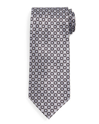 Circle Neat Silk Tie, Black/Gray