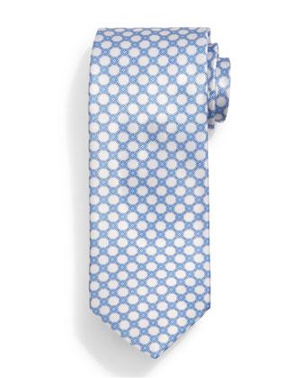 Interlocking-Circle Pattern Tie, White/Blue