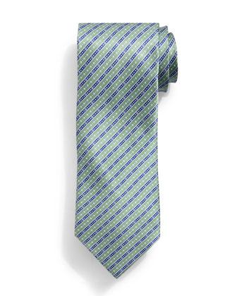Fancy Striped Silk Tie, Green