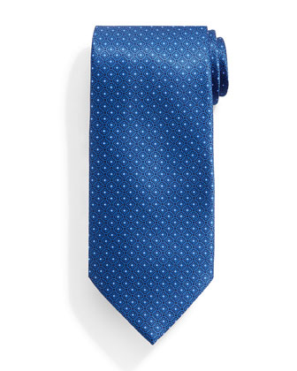 Neat Square Pattern Silk Tie, Blue