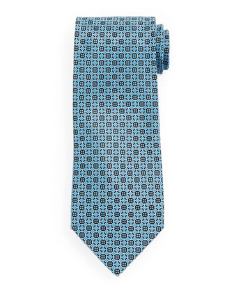 Fancy Neat-Patterned Silk Tie, Black/Green