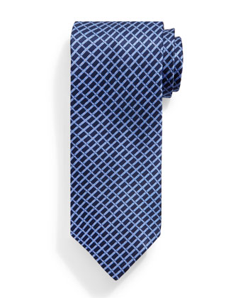 Basketweave Pattern Tie, Blue