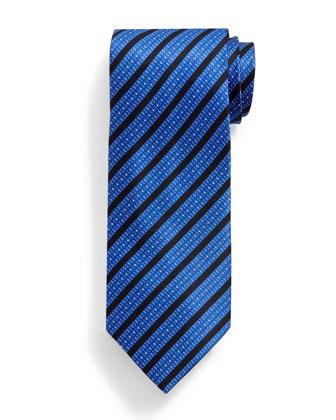 Bold-Stripe Pattern Silk Tie, Dark Blue