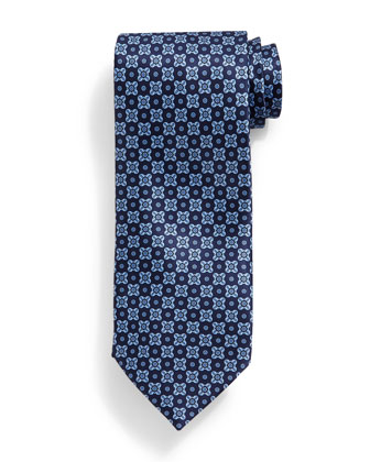 Neat Square-Pattern Tie, Blue