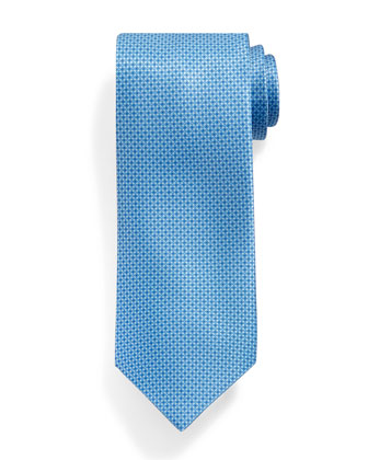 Micro-Neat Pattern Silk Tie, Light Blue