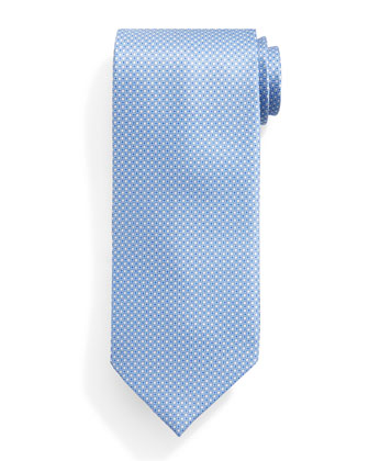 Small Neat-Pattern Silk Tie, Light Blue