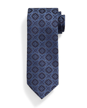 Medallion-Print Silk Tie, Navy