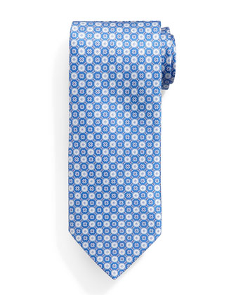 Neat Circle-Patterned Silk Tie, Light Blue