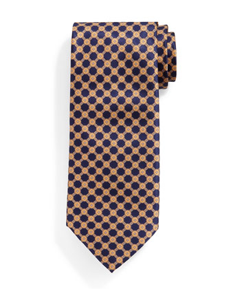 Interlocking Circle-Patterned Silk Tie, Blue/Orange
