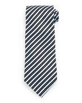 Fancy Striped Silk Tie, Light Blue