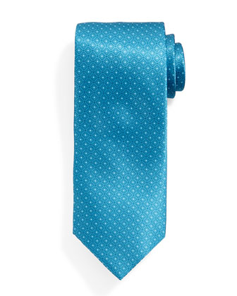 Neat Square-Patterned Silk Tie, Teal